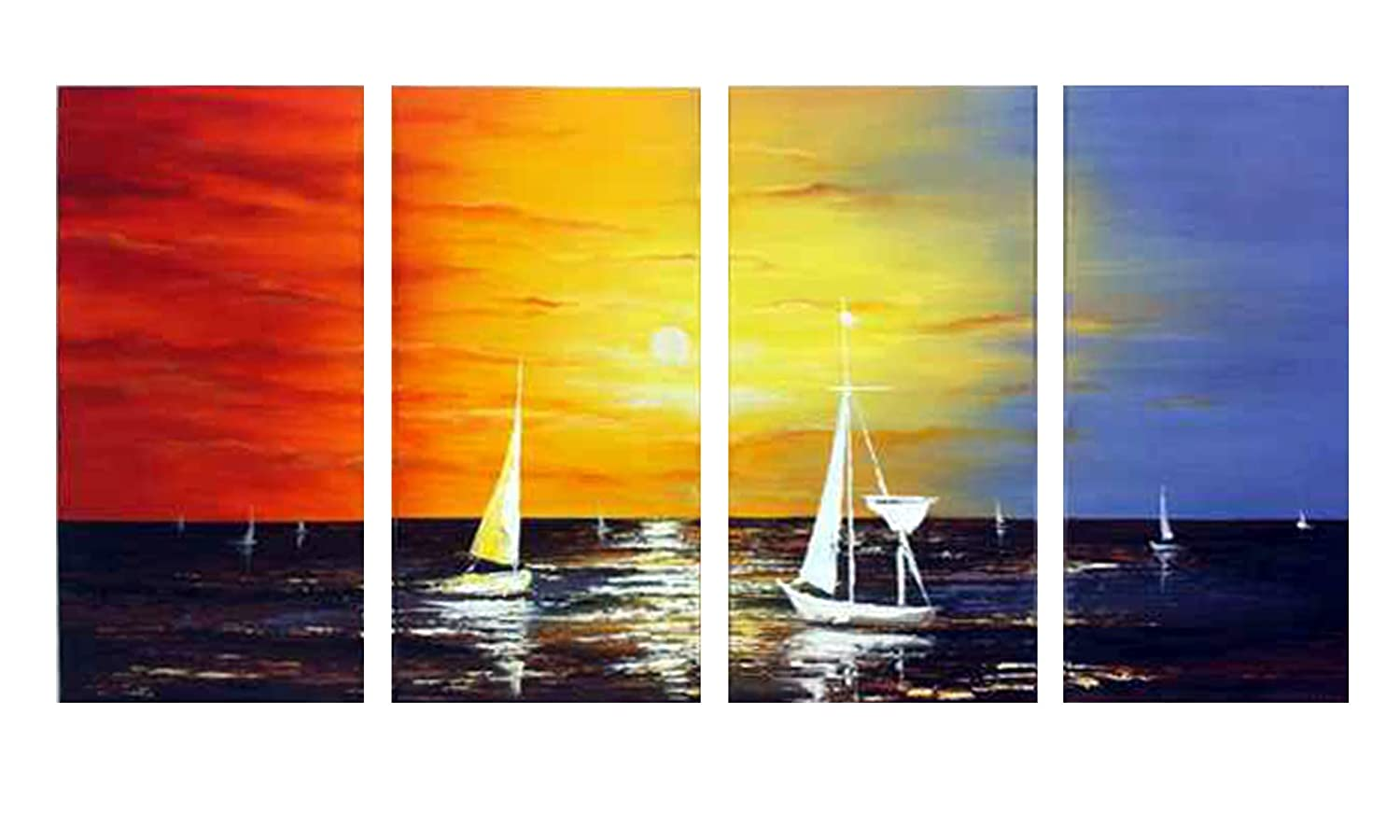 Amazon.com: Wieco Art - Sailing Modern 4 Piece 100% Hand Painted ...