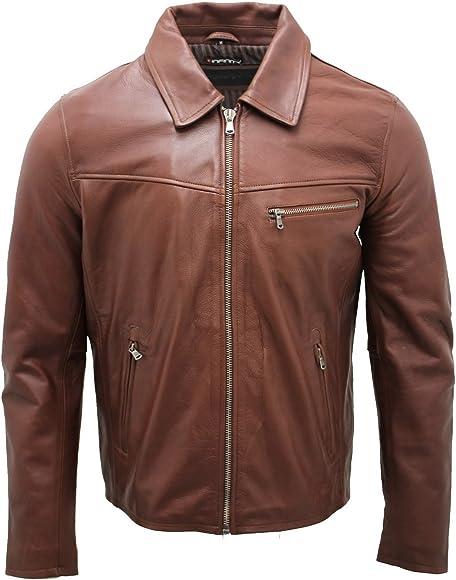 Men/'s Smart Brown Leather Harrington Jacket