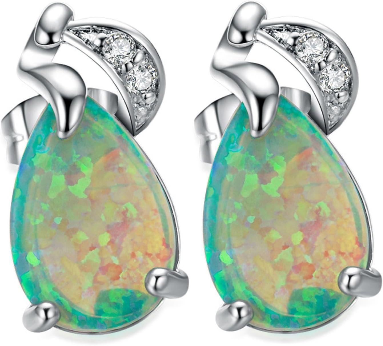OMZBM Creado Verde Ópalo Pendientes De Piedras Preciosas Exquisita Plata De Ley Lágrima Pequeños Aretes De Oro Blanco Joyería Mujeres Chica