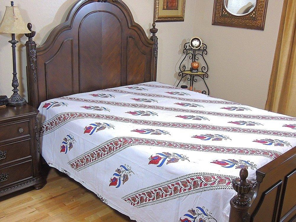 India Inspired Bedding Duvet White Block Printed Cotton Reversible Queen Linens