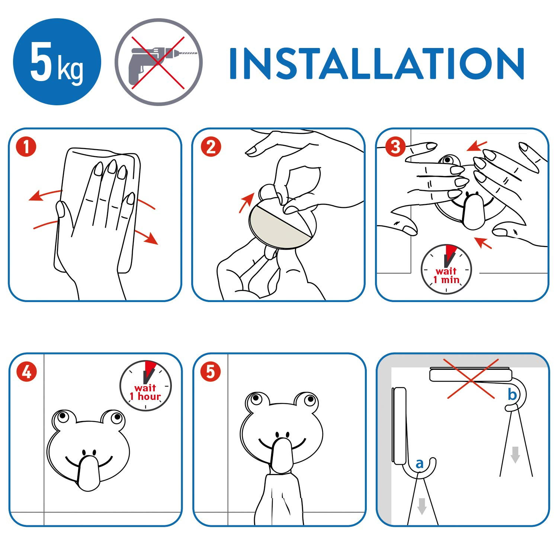 Tatkraft Frogs Stabile Handtuchhaken Badezimmer Kinderzimmer 2 St/ück Selbstklebend Aus robustem Edelstahl  Humorvolles Design f/ür jedes Alter