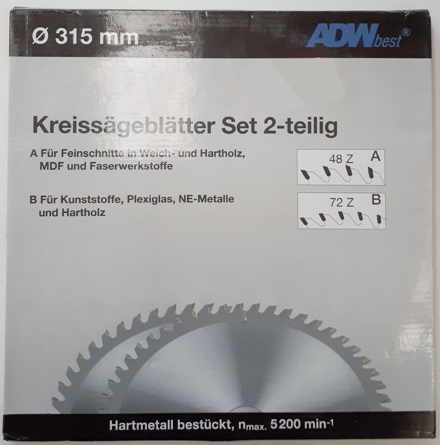 adwbest kreissä geblä tter 315  mm, lot de 2  48  dents WZ et 72  dents tr (F), 30  mm alé sage lot de 2 48 dents WZ et 72 dents tr (F) 30 mm alésage ADW best