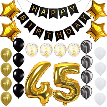 Happy 45th Birthday Banner Balloons Set For 45 Years Old Party Decoration Supplies Gold Black