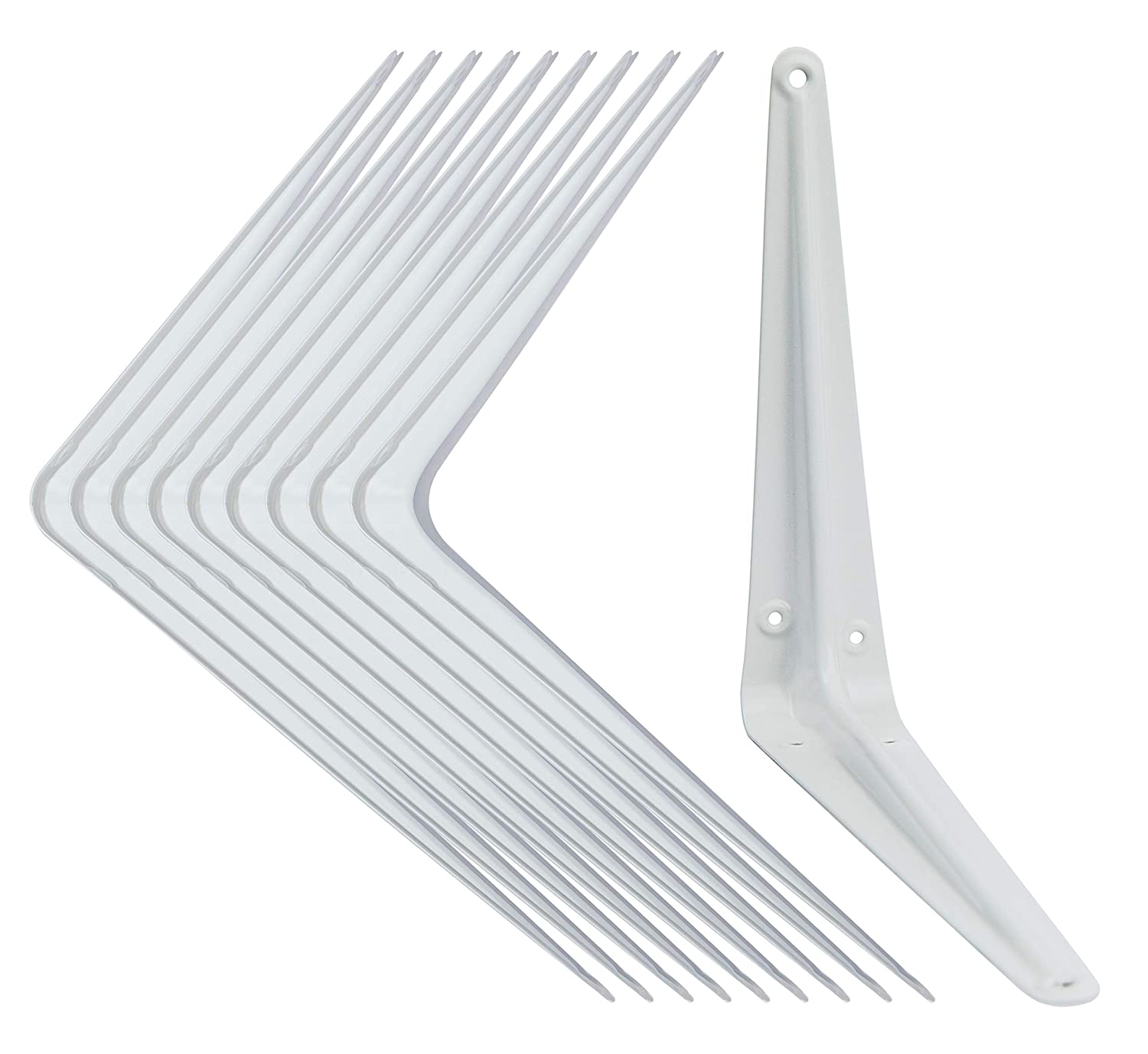 Shelf Brackets White 8 x 10 inch Pack of 10 Wall L-Bracket Supports for Hanging DIY Shelves Metal Steel Heavy Duty Strength 52lbs