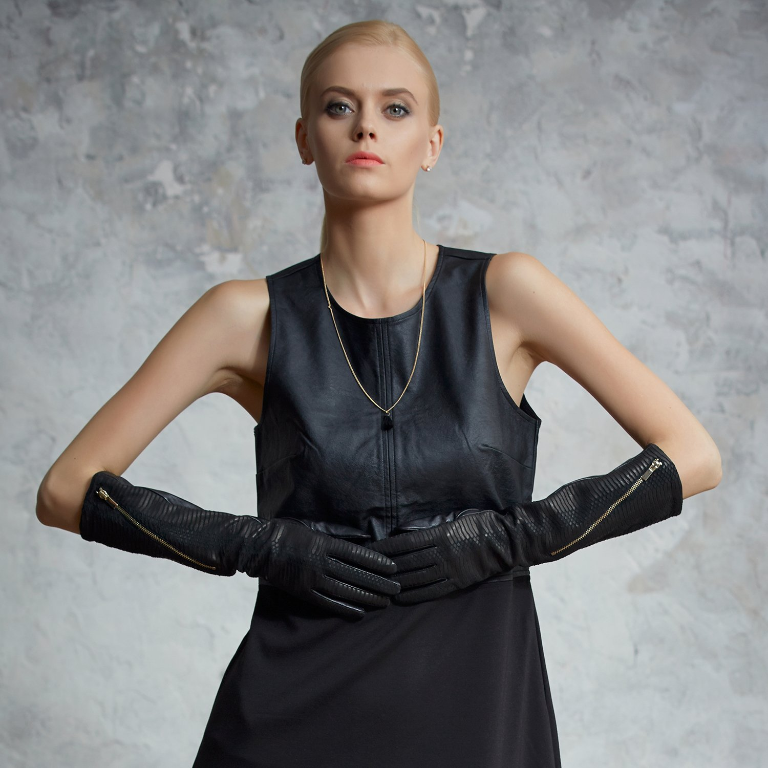Fioretto Womens Long Italian Leather Gloves Opera Length Winter Warm Gloves Evening Party Dress Gloves Black by Fioretto (Image #2)