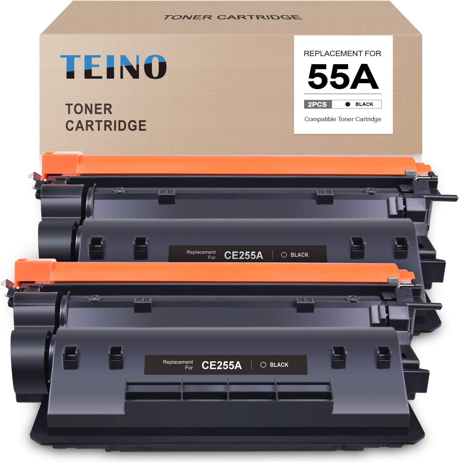 TEINO Compatible Toner Cartridge Replacement for HP 55A CE255A use with HP Laserjet Enterprise P3015n P3015dn Laserjet Pro MFP M521dn M521dw Laserjet Enterprise 500 MFP M525dn M525f (Black, 2-Pack)