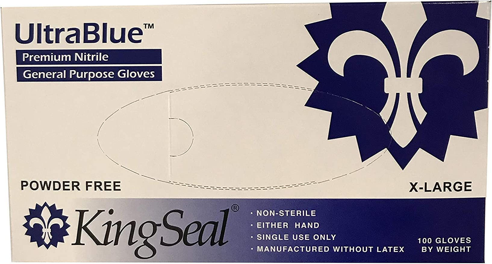 4 mils thick 10 Pack//100 per Pack Large KingSeal Powdered Ivory Latex Disposable Gloves