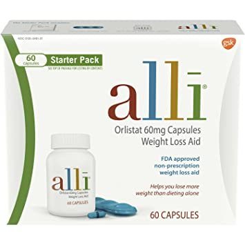 Alli Weight Loss Aid Diet Pills 60mg Starter Pack 60 Count