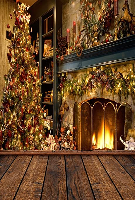 aofoto 6x8ft photography backdrop photo background chic christmas tree fireplace xmas decoration wood wall props video