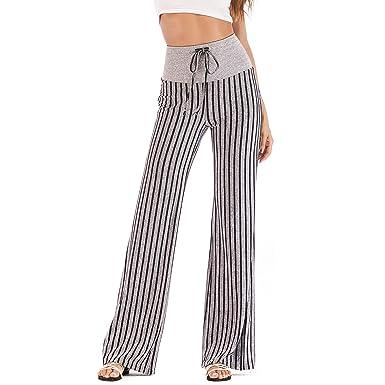 YOFIT Women s High Waist Comfy Stripe Print Lounge Drawstring Palazzo Long Wide  Leg Pants Harem Pants e37a19fc72
