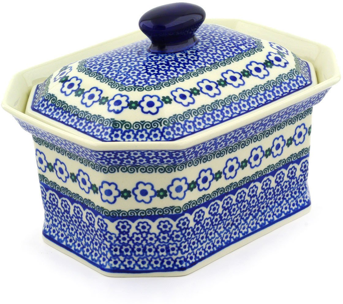 Polish Pottery Jar with Lid 10-inch Amazing Composition made by Ceramika Artystyczna