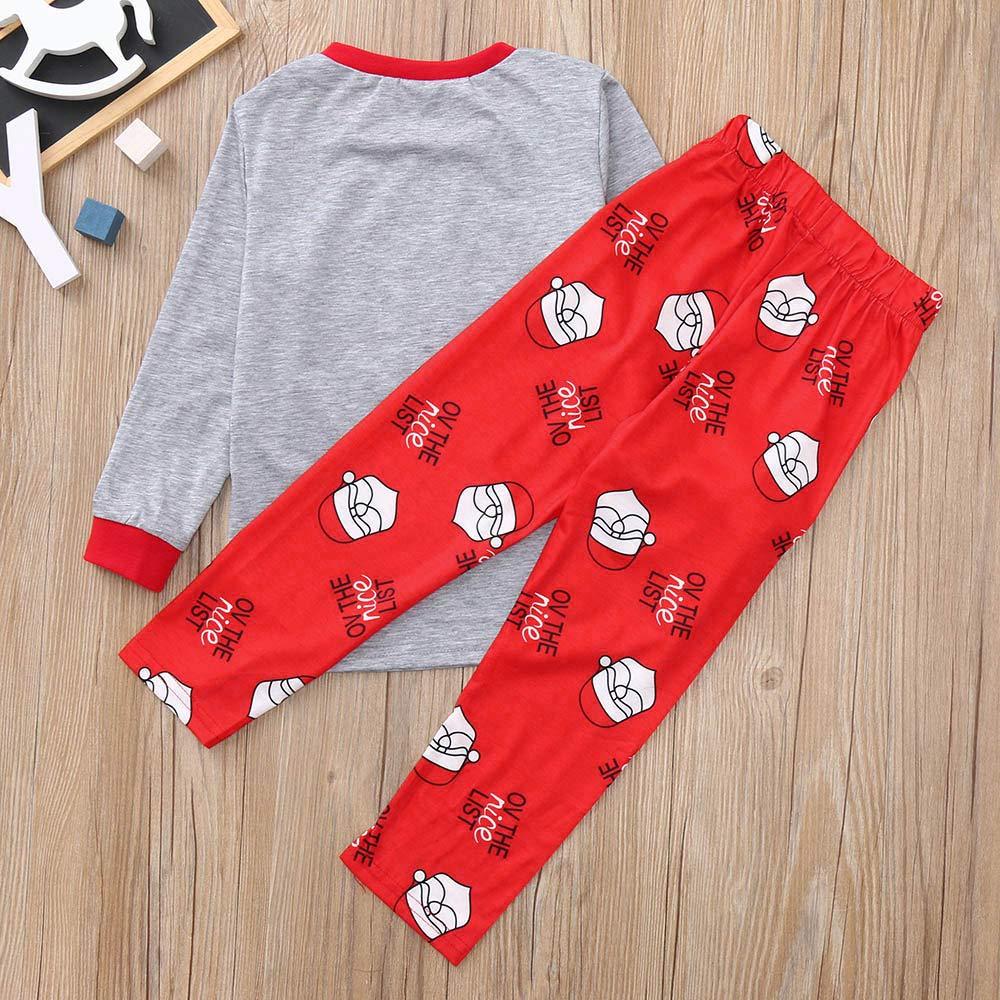 Families Christmas Pajamas Set,Sweetest Letter Print Top Santa Claus Pants Sleepwear Outfits Set Zulmaliu