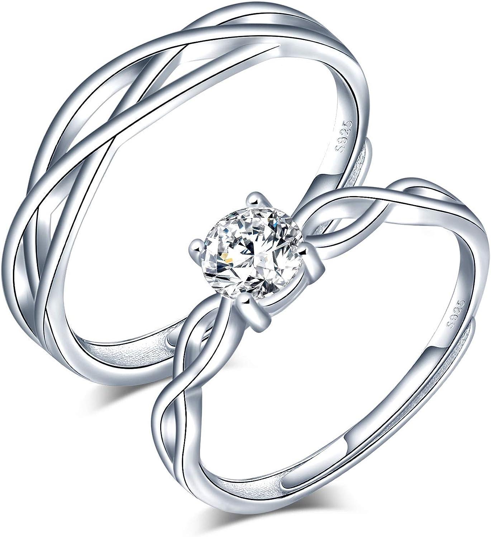 CPSLOVE Anillo de plata de ley 925 para pareja, anillos de bodas de diamantes de flores, tamaño ajustable, regalo de aniversario de bodas de Navidad para el día de San Valentín
