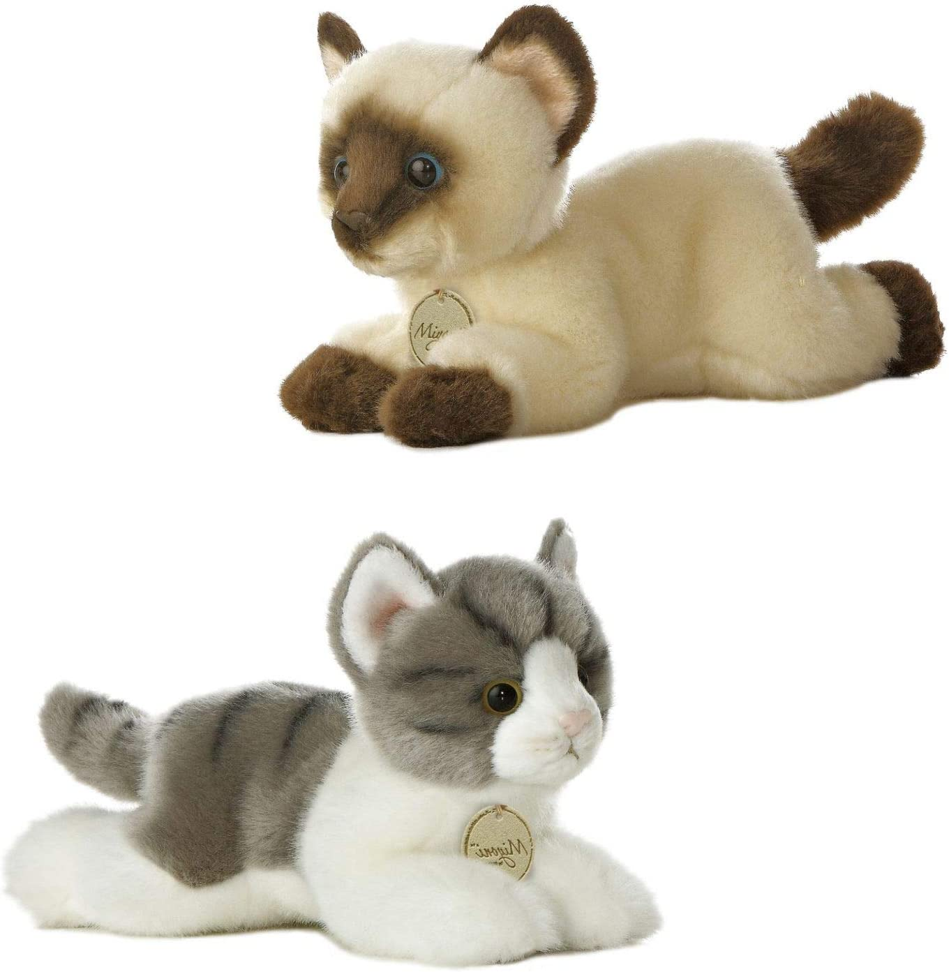 BBA SUNRISE, AURORA Bundle of 2 Cute Stuffed Cats, Stuffed Animals for Baby & Kids, Cat Plush Grey 8