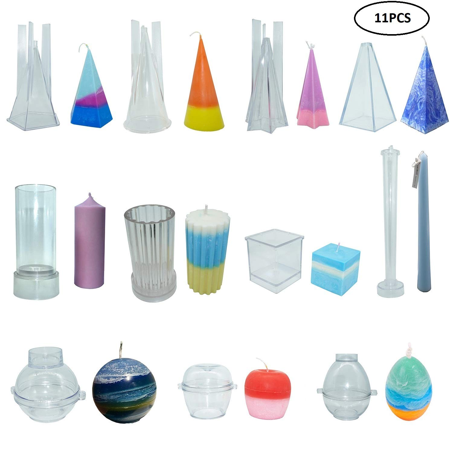 MILIVIXAY 11pcs Candle Molds Set-Plastic Candle Making Kit-DIY Candle Making Supplies Pyramid & Cylinder & Ball Sphere & Pillar & Apple & Square Egg & Cones & Taper Mold