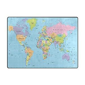 Use7 Retro - Alfombra para Sala de Estar, Dormitorio, diseño de Mapa del Mundo, Tela, 160cm x 122cm(5.3 x 4 Feet)