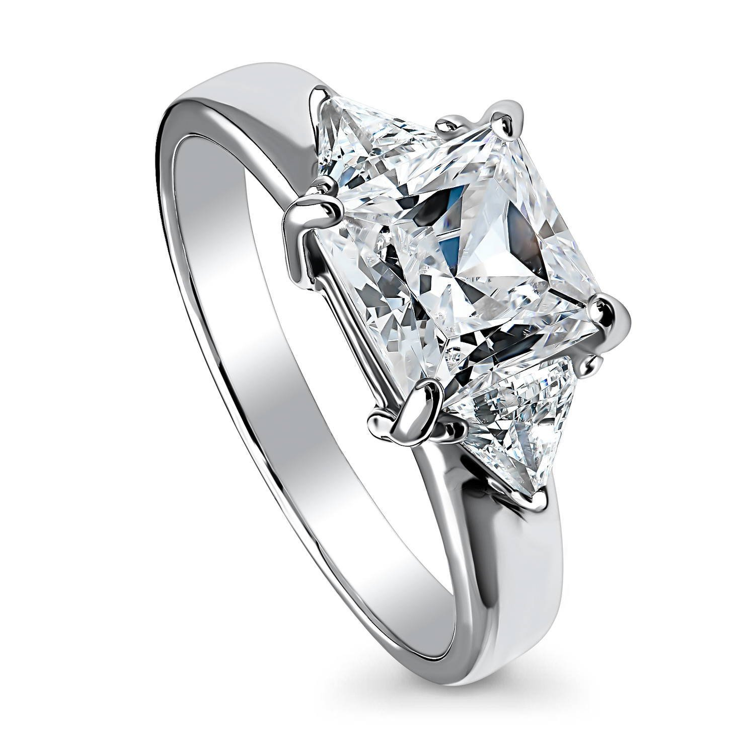 BERRICLE Rhodium Plated Sterling Silver Cubic Zirconia CZ 3-Stone Promise Engagement Ring Size 9
