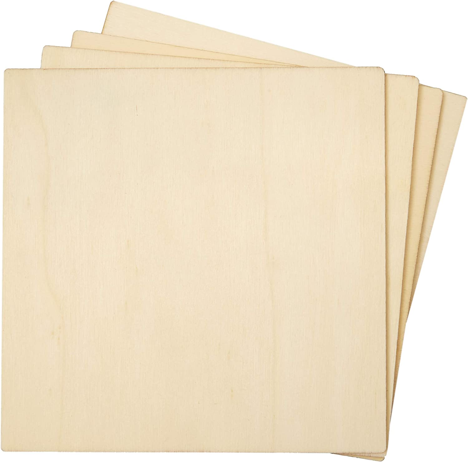 Wooden Cutouts for Crafts, Wood Squares (5 x 5 in, 36 Pieces)