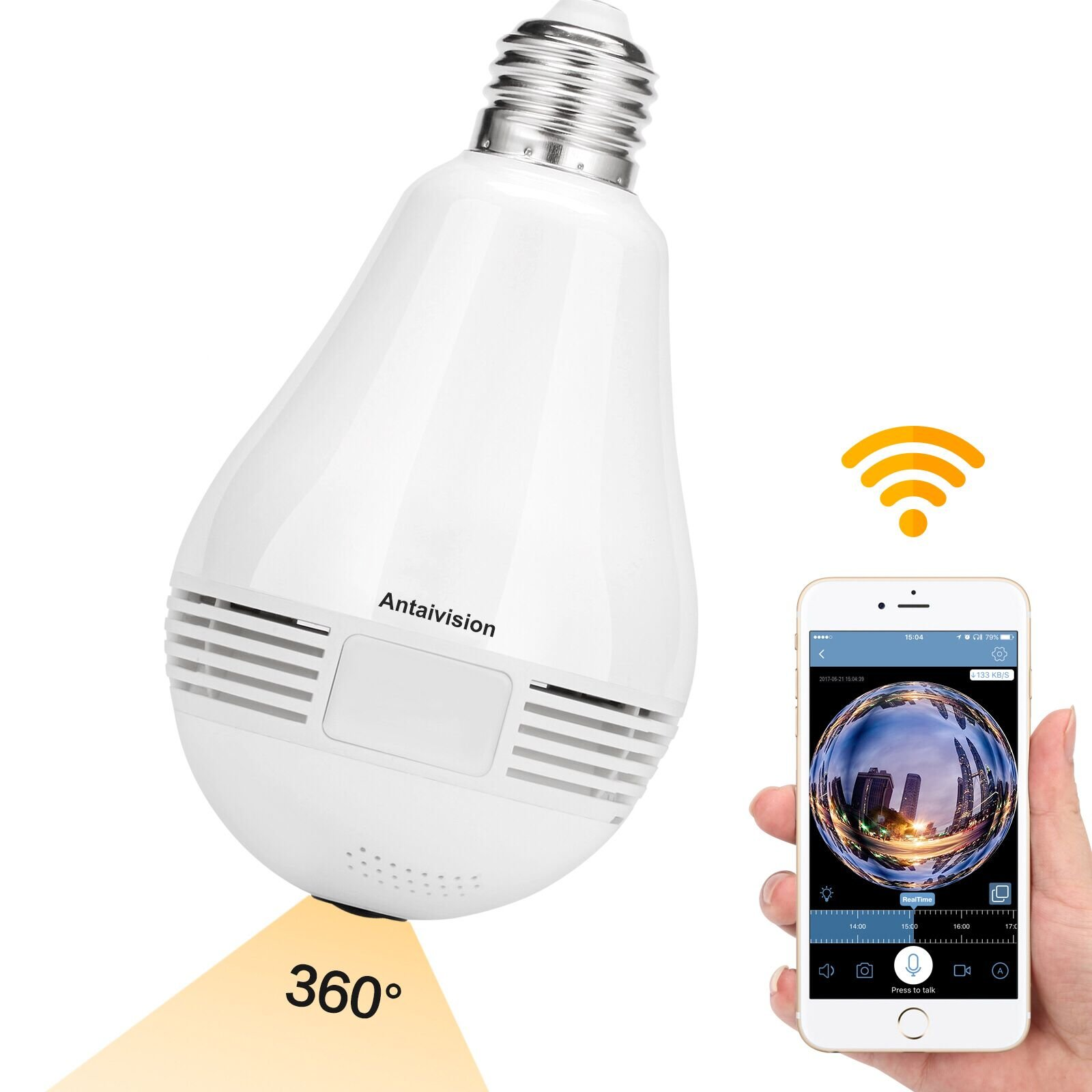 Antaivision Light Camera Bulb 960P Wireless Wifi Panoramic 360 Degree Fisheye Lens for Remote Home Security System IOS Android APP