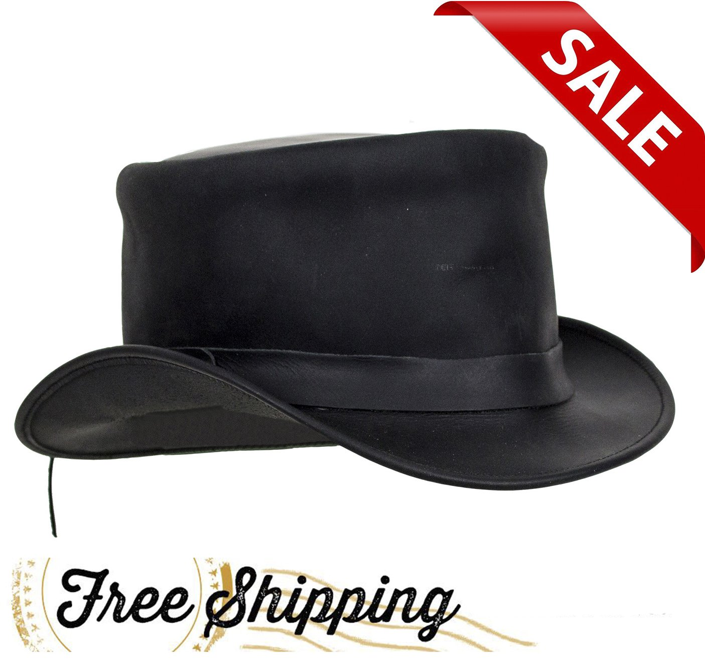 DREAM APPAREL Black Leather Deadman Top Hat (XL)