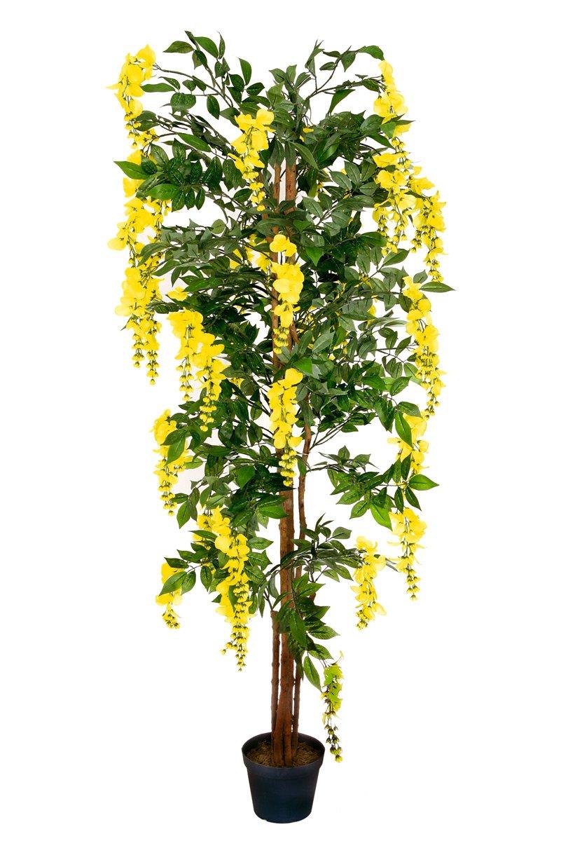 Goldregen 1,80 m künstlich Kunstbaum Kunstpflanze Echtholzstamm