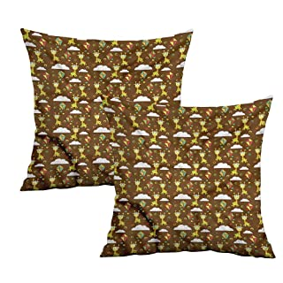 Khaki home Giraffe Square Funny Pillowcase Childish Fairytale Art Square Custom Pillowcase Cushion Cases Pillowcases for Sofa Bedroom Car W 24' x L 24' 2 pcs
