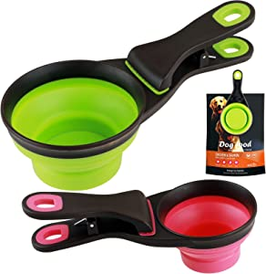 Pet Food Scoop and Food Bag Clip 2 in 1 Collapsible Measuring Dog Food Cup for Dogs Cats Snack Food 2 Piece(1 Cup Green and 1/2 Cup Red)