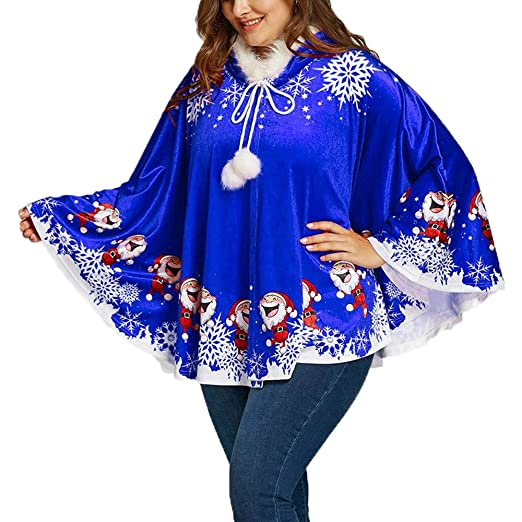 Amazon.com: Besde Mom&Me Christmas Womens Winter Warm Santa Claus Hooded Cape Coat Printing Cloak: Home & Kitchen