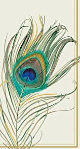 Boston International 32 Count 3-Ply Paper Guest Towel Buffet Napkins, Peacock Feather