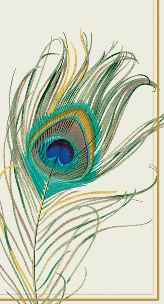 Boston International 32 Count 3-Ply Paper Guest Towel Buffet Napkins, Peacock Feather by Ideal Home Range