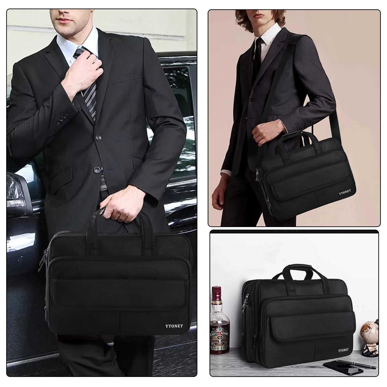 17 inch Laptop Bag,Expandable Briefcase Large Capacity Computer Bag for Women & Men,Oxford Nylon Fabric Shoulder Bag, Water Resistant Durable Messenger Bag Case for HP DELL 15 15.6 inch Laptop -Black by Ytonet (Image #7)