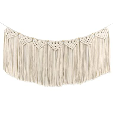 Macrame Woven Wall Hanging Curtain Fringe Garland Banner - BOHO Shabby Chic Bohemian Wall Decor - Apartment Dorm Living Room Bedroom Baby Nursery Art - Party Backdrop Decoration, 15 W x35 L, 7  flags