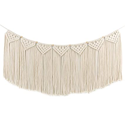 Amazon Com Macrame Woven Wall Hanging Curtain Fringe Garland Banner