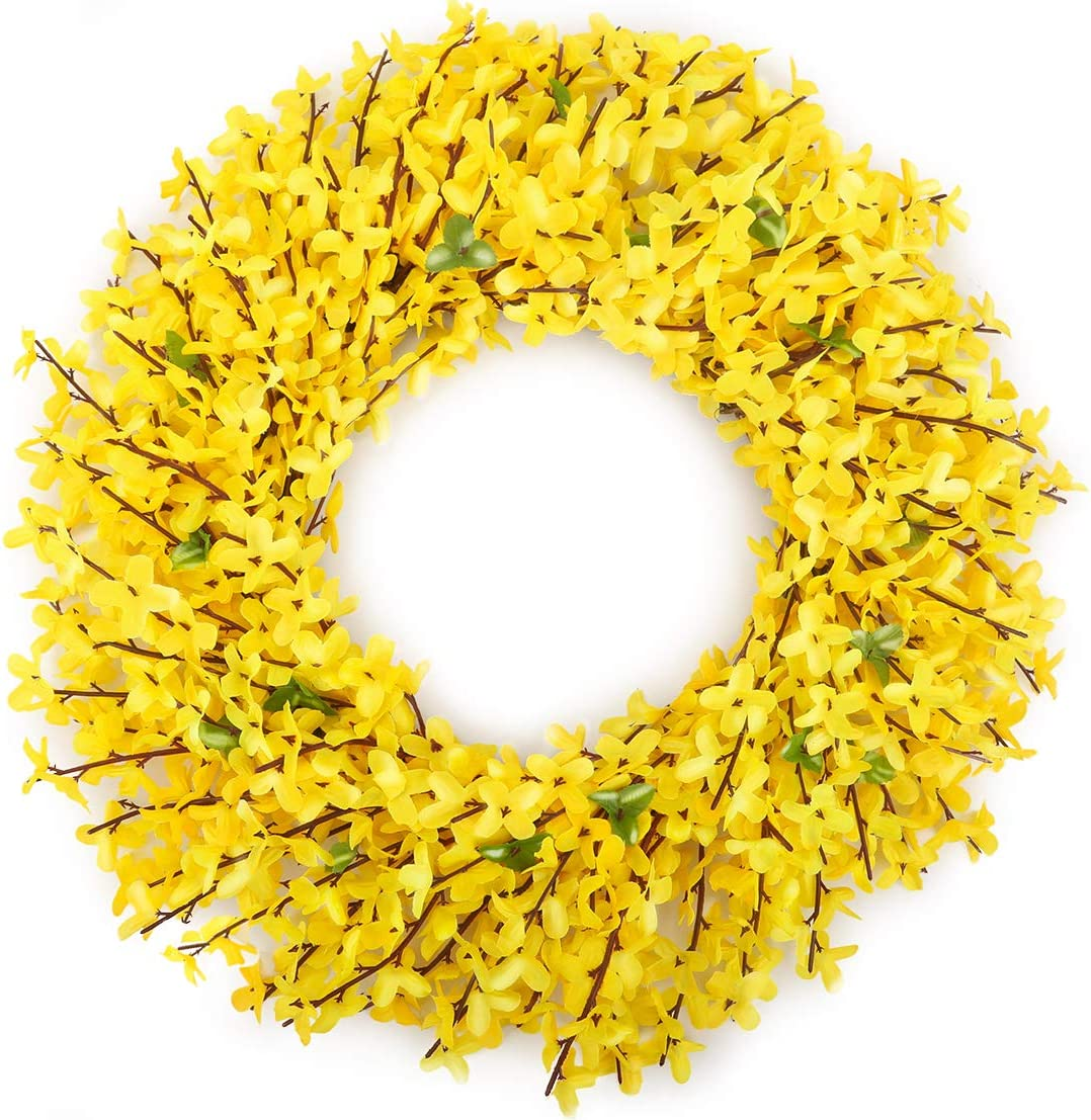 HANTAJANSS Artificial Forsythia Flower Wreath for Front Door 18 Inches, Silk Yellow Fake Orchids Flowers for Spring, Summer, Winter, Home, Wedding DecorWedding Décor