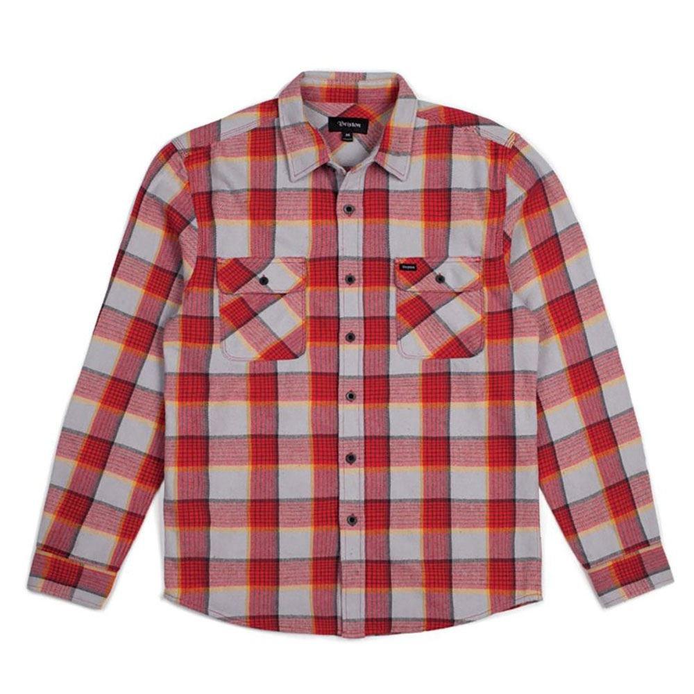 Brixton Bowery Flannel L S Shirt ROT Grau