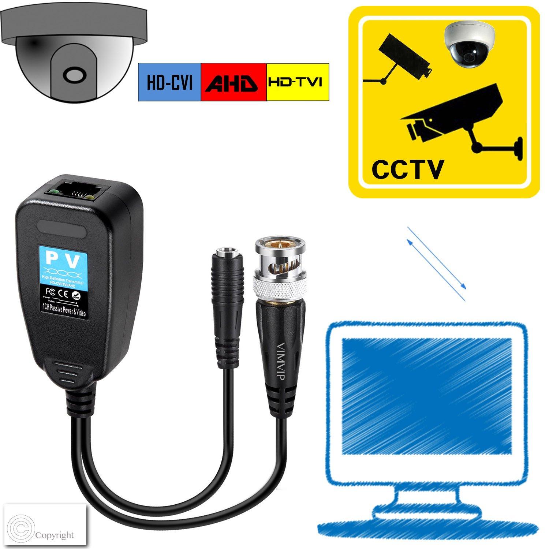 VIMVIP HD-CVI//TVI//AHD Passive Video Balun with Power Connector and RJ45 CAT5 Data Transmitter 1 Pair