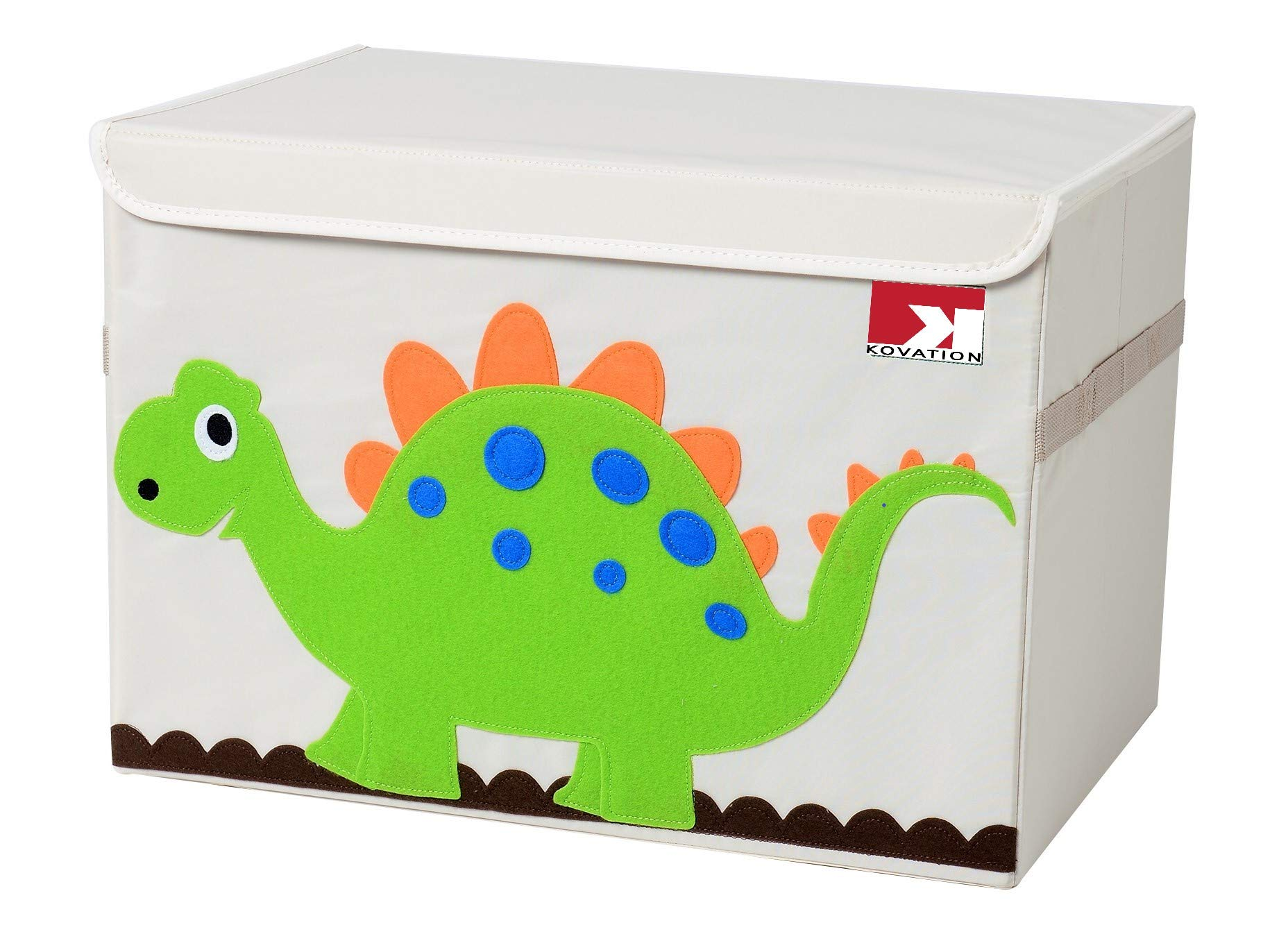 KOVATION Toy Chest Organizer Storage Bin with Lid, Collapsible Box and Trunk for Storing Kids Children Baby Toys, Clothes, Shoes, Books and More (Dinosaur)