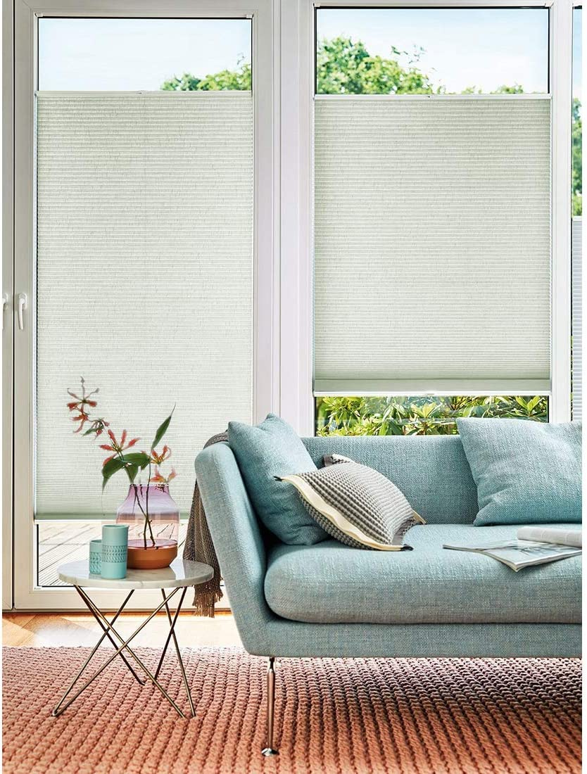 Keego Blackout Cellular Shades Custom Size, Top Down Bottom up Window Blinds, Grey, 27 W x 40 H, Room Darkening Honeycomb Blinds for French Doors Windows