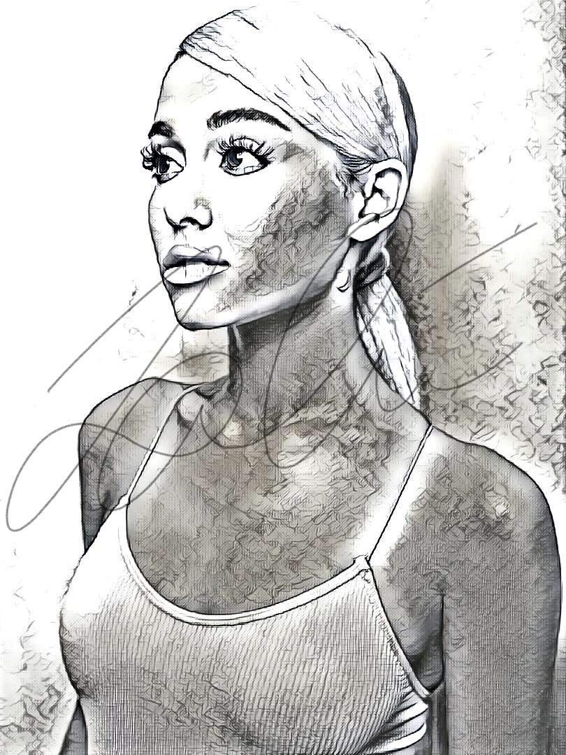 Amazon com ariana grande sketch drawing print poster hand