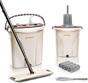 Worthland Flat Squeeze Mop and Bucket Set with 4 Reusable Microfiber Pads, Hands Free Mop System for Home Cleaning, Self Wring System with Stainless Steel Handle, Wet & Dry Use