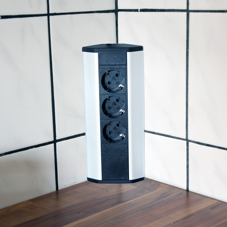 Steckdose für Küche und Büro – Ecksteckdose aus Aluminium und ...