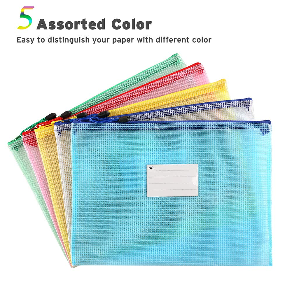 Sooez Plastic Mesh Zip File Document Folders Assorted Color 18 Pack Letter Size A4 Size Zipper Document Pouch Waterproof Document Bag with Label Pocket /& Zipper for School Office Home Travel Storage