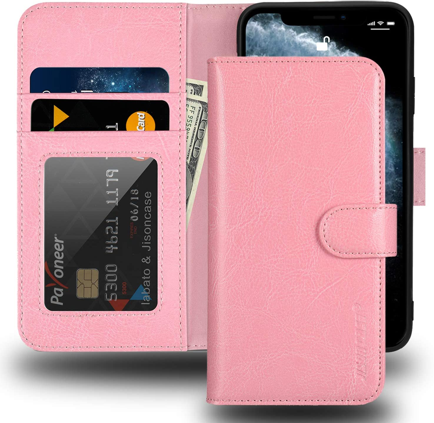 "JISONCASE iPhone X Wallet Case,Genuine Leather iPhone Xs Case with Card Holder & RFID Blocking & Wireless Charging,Shockproof Protective Cover Flip Case for Apple iPhone X 10 XS 5.8""- Pink"
