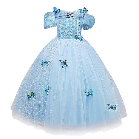 NNDOLL Cenerentola Vestito Costumi Carnevale Bambina Bimba Principessa  Azzurro Farfalla Manica Corta Abito(120 ( 05d4dfb5f58