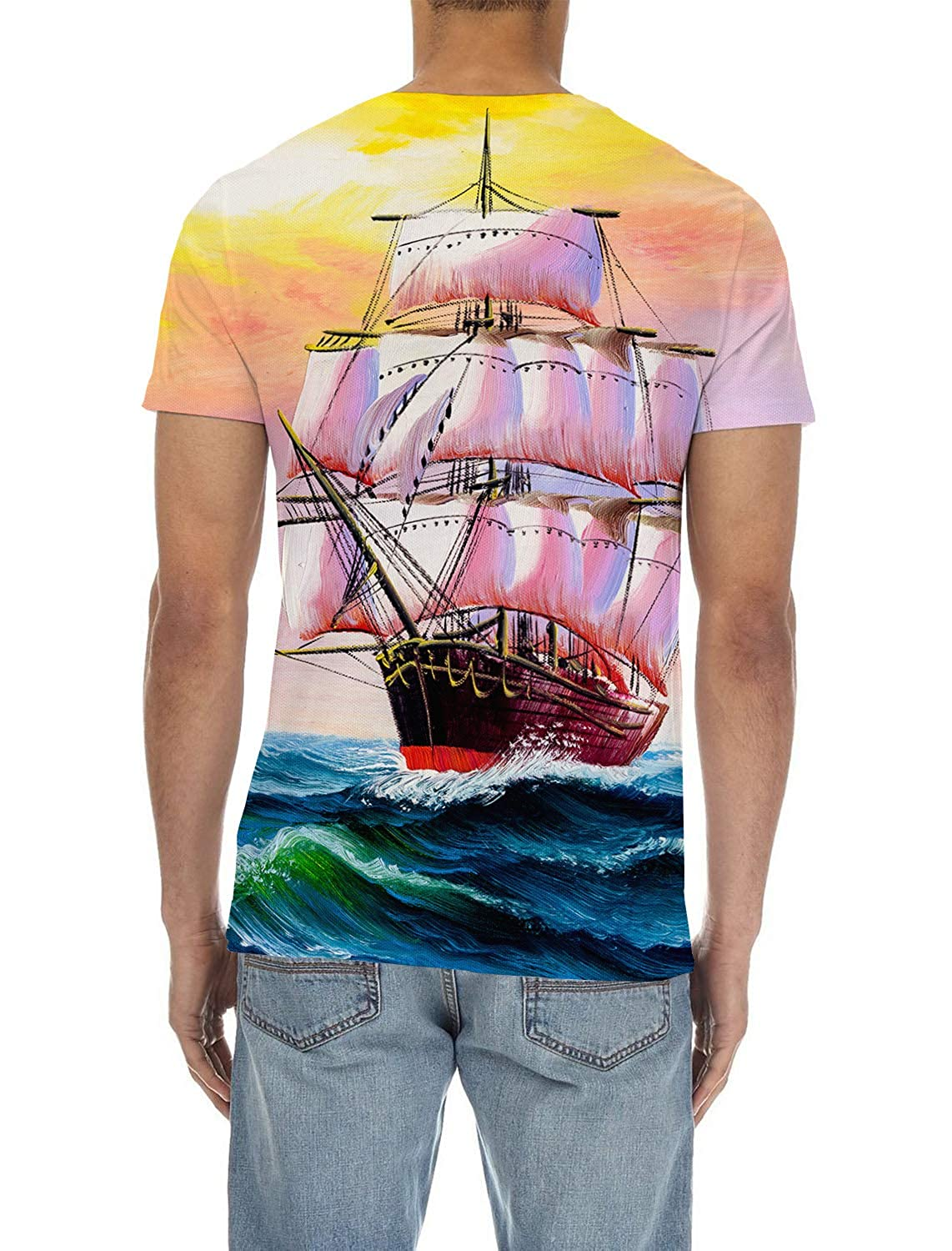 SunShine Day Watercolor Mens Everyday ComfortSoft Short Sleeve T-Shirt for Workout Running Sports