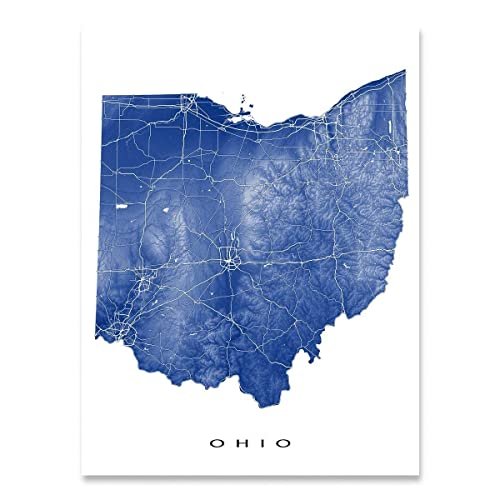 Amazon.com: Ohio Map Print, OH State Art, USA, Columbus, Cincinnati ...