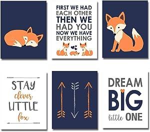 "iMagitek Set of 6 Unframed Navy and Orange Fox Nursery Wall Art Decor for Baby Nursery Decor (8"" x 10"")"
