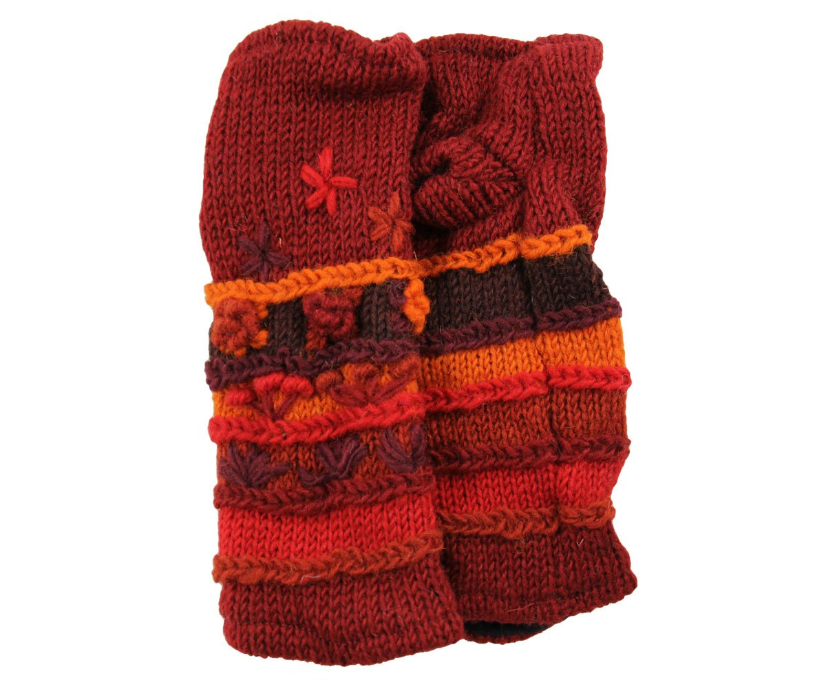 RW Hand Knit 100% Wool Fleece Lined Hand Warmer/Glove (Burgundy)
