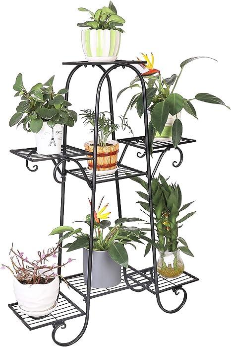 unho Soporte para Plantas de Hierro Estantería para Macetas con 7 Niveles Estantería Decorativa de Flores para Exterior Interior Jardín 66 x 22 x ...