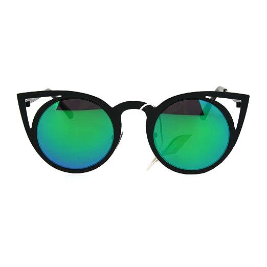 3297d14df Womens Metal Bat Shape Cat Eye Round Circle Lens Sunglasses Black Teal
